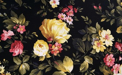 Panel Szklany Do kuchni yellow peony and pink daisy design on black fabric