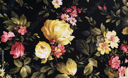 Foto op Aluminium Stof yellow peony and pink daisy design on black fabric