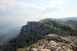 beautiful panoramic view from top of crimean mountain peak Ai-Pe