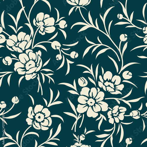 Poster Floral black and white Seamless vintage pattern with peony silhouette. Floral background