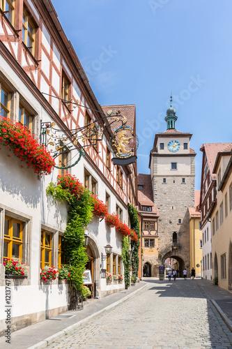 Deurstickers Brugge Rothenburg ob der Tauber, Franconia, Bavaria, Germany