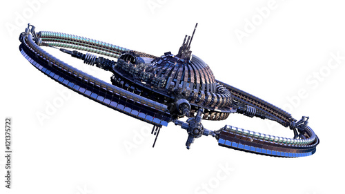 3D illustration of an alien spaceship or futuristic space station, with a central dome and gravitation wheel, for science fiction   backgrounds with the clipping path included in the file Canvas Print