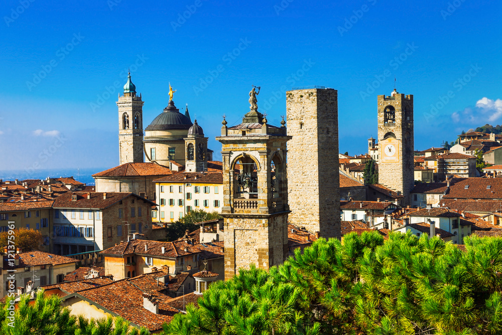 Towers of Bergamo - beautiful medieval town in noth of Italy Canvas Print