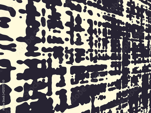 Abstract grunge vector background, Monochrome distorted composition of irregular overlapping graphic elements. - 121377950