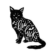 Black Cat With Typography