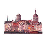 Hand drawn historical buildings art of Warsaw, Poland - 121382133