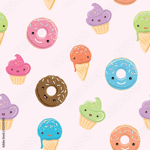 Cotton fabric Seamless pattern with sweets in kawaii style
