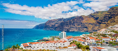 Garden Poster Canary Islands Los Gigantes mountain in Puerto de Santiago city, Atlantic Ocean coast, Tenerife, Canary island, Spain