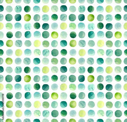 Materiał do szycia Akwarela, zielone, niebieskie i żółte koła Powtórz wzór