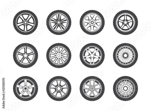 Fotografía  Wheel, tyre and tire collection of icons