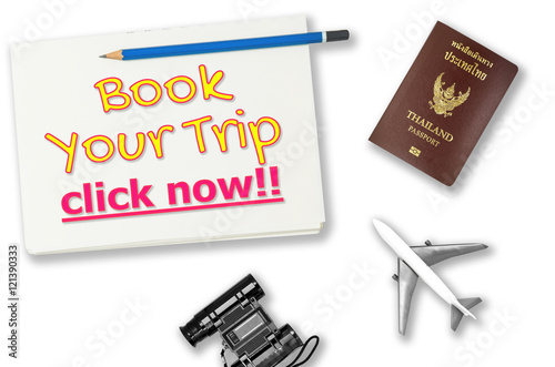 Book your trip click now travel agency banner with white background Wallpaper Mural