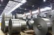 canvas print picture - Rollen mit Stahlblech in einem Stahlwerk // units with sheet steel in a steel mill