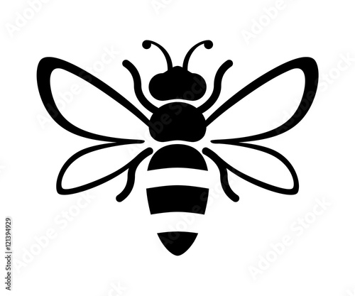 Graphic illustration of silhouette honey bee Fototapeta