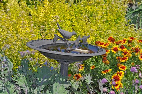 Decorative birdbath Canvas Print