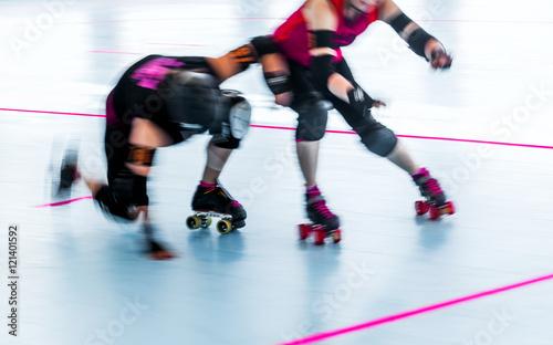 Stampa su Tela Roller derby skaters action blur