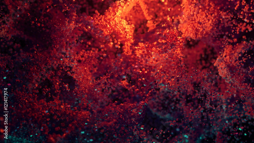 Abstract Colorful Cube Particles Background- 3D illustration