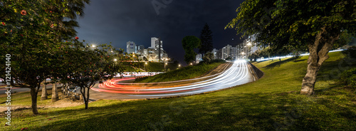 Canvas Prints Seoul Panoramic night view of the Armendaris downhill and highway in MIraflores, Lima, Peru.
