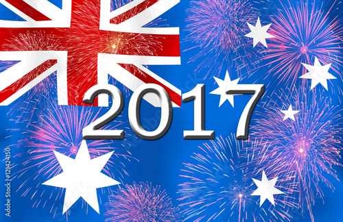 fireworks and 2017 on the australia flagconcept happy new year