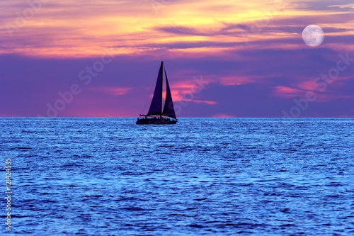 Sunset Sailboat Moon