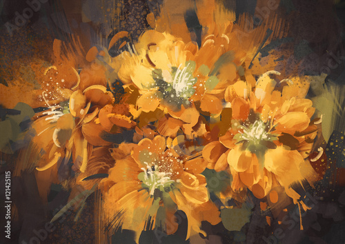 digital painting of colorful abstract flowers with grunge texture,illustration