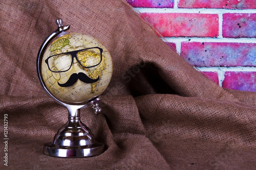 Fotografie, Tablou  Globe with a black hipster mustache