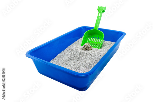 Photographie  Cat litter box ( cat toilet ) isolated on white background