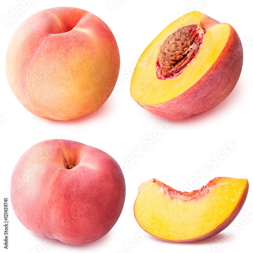 Fotografía peach fruit sliced collection isolated on white background