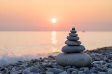 Pyramid Of Stones On Sea Coast