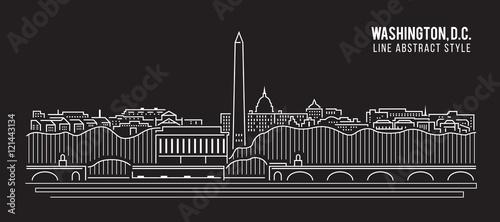 Pejzażu miejskiego budynku Kreskowej sztuki Wektorowy Ilustracyjny projekt - Waszyngton, DC miasto