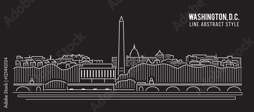 Fotografía  Cityscape Building Line art Vector Illustration design - Washington , D