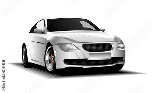Staande foto Cartoon cars Digital vector white and silver sport race car, modern and realistic, front view