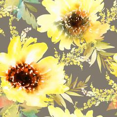 Panel Szklany Słoneczniki Sunflowers seamless pattern