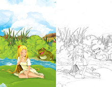Cartoon Fairy Tale Scene With A Young Little Girl On A Leaf And Happy Frog On Shore - Illustration For Children