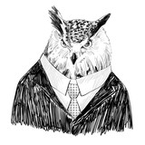 Vector sketch of owl in a suit. Hand drawn illustration - 121447397