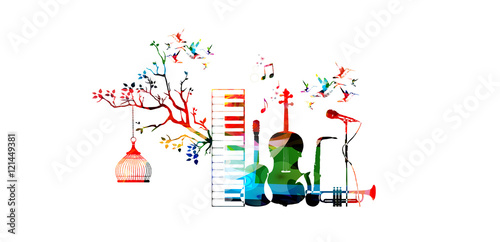 Music Style Template Vector Illustration Instruments Piano Keyboard Guitar Trumpet