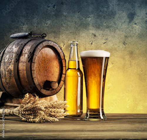 Light beer glasses on the table Wallpaper Mural