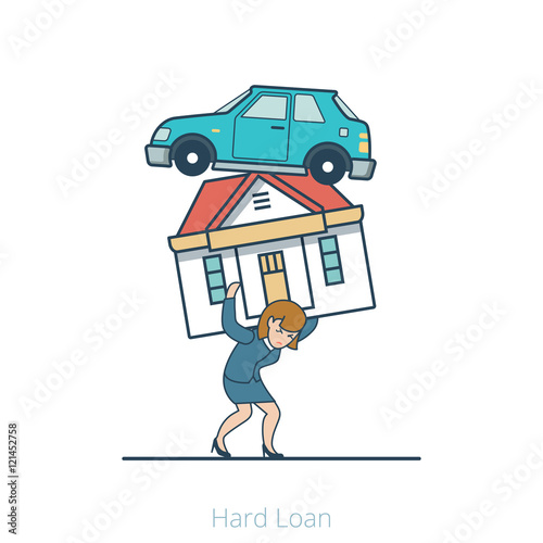 Photo  Linear Flat Woman carry house car vector illustration. Hard Loan