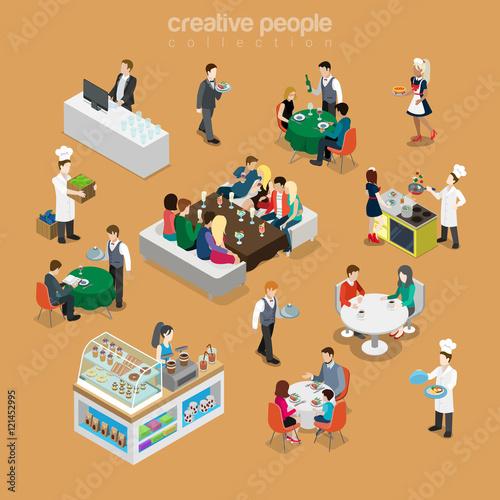 Isometric flat People in restaurant cook desert Food 3d vector Poster Mural XXL