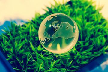 Crystal globe on green grass