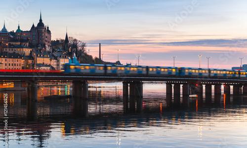 Montage in der Fensternische Stockholm Train on bridge of Gamla Stan, Stockholm