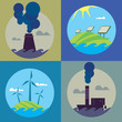 Eco energy and air pollution vector illustration set. Chemical factory with smoke stack, polluting atmosphere. Solar panels and wind turbines in natural landscape. Traditional and alternative sources