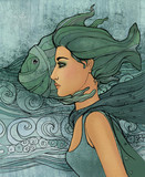 Illustration of pisces astrological sign as a beautiful girl - 121471187