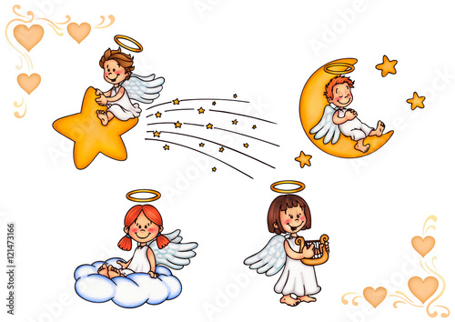Christkind, Engel, Himmel, Kinder Poster