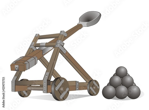 Foto ancient destructive weapon - catapult, ballista