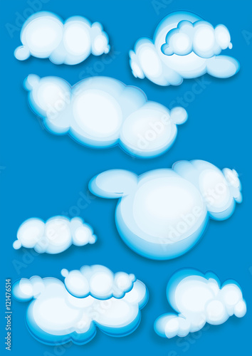 Foto op Plexiglas Hemel clouds - set isolated on blue
