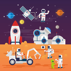 Fototapeta Astronauts characters set in flat cartoon style. Human spaceman and a cute extraterrestrial. Set of universe infographic vector illustration with rocket, satellite, space station, planets, stars, Mars