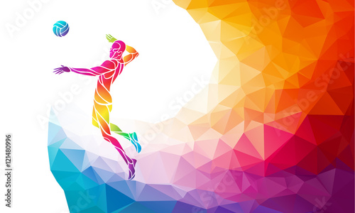 Color silhouette of volleyball player on attack position