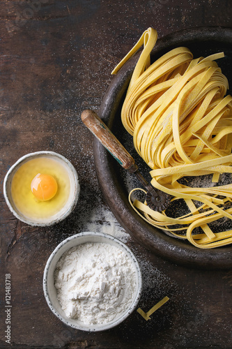 Raw homemade pasta tagliatelle Canvas Print