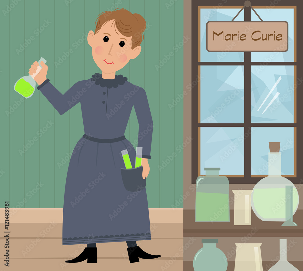 Photo Art Print Marie Curie Illustration Cute Cartoon Of Marie Curie In Her Lab Holding A Test Tube With Radium Ukposters Come cambiare termometro digitale da celsius a fahrenheit? uk posters