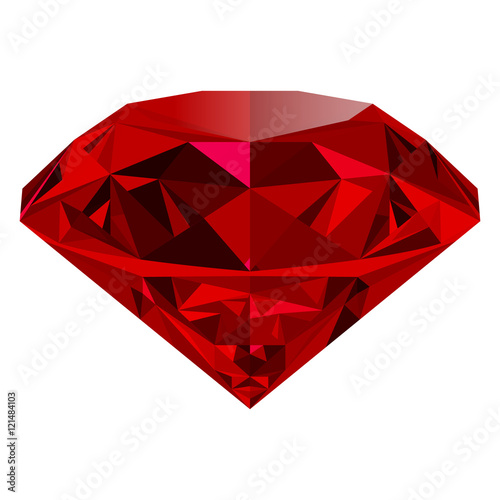 Fotomural  Realistic red ruby isolated on white background